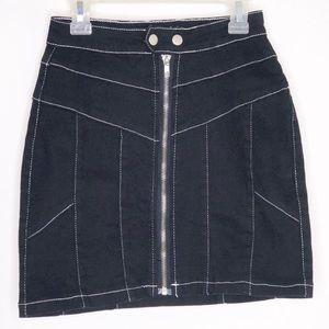Superdown Black Zipper Jean Skirt